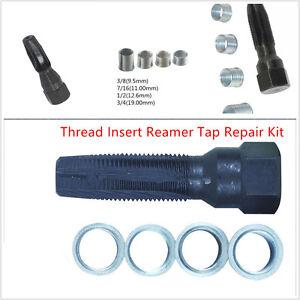 14MM Spark Plug Rethread Tool 4 Inserts Thread Reamer Tap Repair KIT Universal