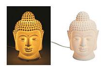 Buddha Kopf Lampe Licht Tischlampe Porzellan weiß Asia Feng Shui ca. 25 cm
