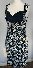 LINDY BOP BNWT Size 16 Navy Blue Floral Retro 50s Style Swing Dress Rockabilly