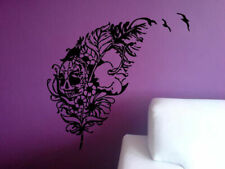 Wall Decal Sticker Room Feather Scull Flowers Zombie Beautiful Decor Art bo2566