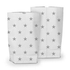 itenga 50x Geschenktüten Bodenbeutel Muster Sterne Gastgeschenk Weiß Dunkelgrau