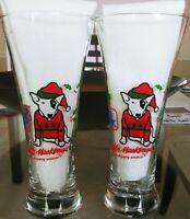 Bud Light SPUDS MACKENZIE Tall Pilsner Glasses Christmas Vintage 1987 Set of Two