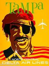Tampa Florida Pirate Air United States America Travel Advertisement Art Poster