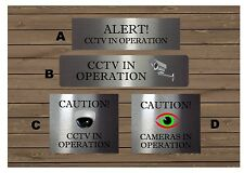 CCTV Surveillance Camera Silver Gold or White Metal Signs House or Office Plaque