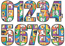 Wheelie Bin Numbers Stickers - House Number 18cm - Dog Patterned Design
