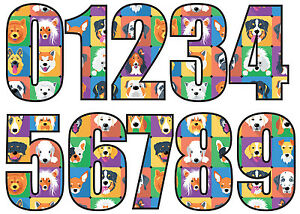 Numbers Stickers For Wheelie Bins Super Sticky 18cm Printed Large Dog Design