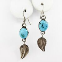 Native American Navajo Sterling Silver Turquoise Bison Buffalo Feather Earrings