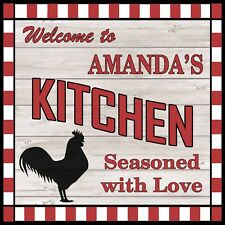 AMANDA'S Kitchen Welcome to Rooster Chic Wall Art Decor 12x12 Metal Sign SS71