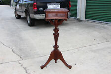 Fancy Walnut Victorian Renaissance Revival Brown Marble Top Plant Stand Ca.1870