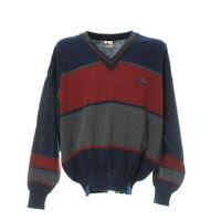 Herren Pullover Gr. L Pullover Sweater Blockfarben Langarm V-Ausschnitt