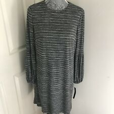 MAGGY LONDON Balloon Sleeve Gray Black Striped Stretch Knit Dress New Size 10