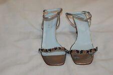 Badgley Mischka Silver Leather Kitten Heel Sandals Shoes Size 36 1/2 C Italy