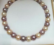 "HUGE 18""13-16MM SOUTH SEA GENUINE GOLD PURPLE  PEARL NECKLACE PERFECT ROUND 4048"