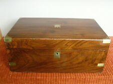 Antique Victorian Walnut Campaign Lapdesk or Writing Slope w/ Brass Hardware