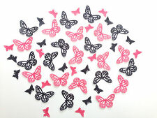 48 Edible Hot Pink/Black Butterflies Pre Cut Wafer Cupcake Toppers