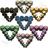 "V122 Fake Cheaters Illusion Faux Plugs 4 2 0 00 G 7/16"" 1/2"" Silver Black Gold B"