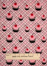"""Timeless Treasures Cupcake Kitchen Bake Icing Sweet Pink 9879 Cotton Fabric 32"""""""