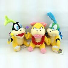 "3X Super Mario Koopalings Larry & Iggy & Wendy O. Koopa Plush Toy Soft Bowser 6"""