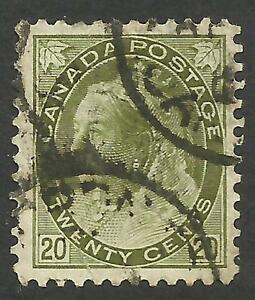 Canada 84. 20c Numeral. VF.  Two partial cds postmarks