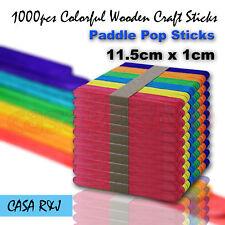 1000 pc Coloured Wooden Craft Sticks Paddle Pop Sticks Ice Cream 11.5cm x 1cm