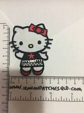 Iron on Patches Hello Kitty Cat Red Black 6.5cm x 5.5cm Sew Applique Embroidered