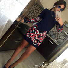 Fashion Women Casual Long Sleeve Evening Party Cocktail Beach Short Mini Dress