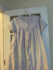 Parisian womens vtg plaid long nightgown floral embroidered full zip women Small