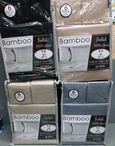 Bamboo Queen 6 Piece Sheet Set deep pocket 2000 series