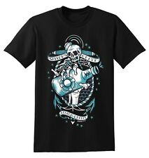 New Sourpuss Kustom Kreeps Sailor's Grave Tattoo Skull Anchor Whiskey T-Shirt L