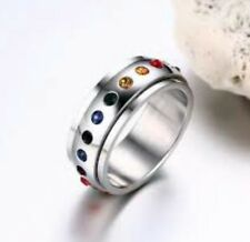 Gay Lesbian LGBT Pride 316 Surgical Steel Rainbow SPINNER Ring  Size 13