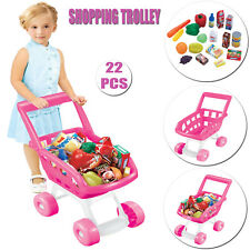 KIDS PINK 22PCS GROCERY SHOPPING PLASTIC TROLLEY MINI ACCESSORIES CART XMAS GIFT