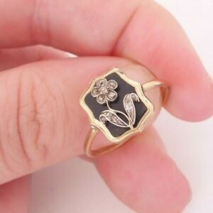 15ct gold enamel rose cut diamond forget me not mourning ring, rare Victorian
