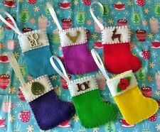 Set of 6 Small Ornaments Handmade Felt Christmas Stocking with wooden topper