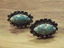 Vintage Silver Screwback Earrings with Stones - SILVER MEXICO