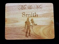 Personalised Wooden Cheese Chopping Board, Mr & Mrs Wedding Any Message Engraved