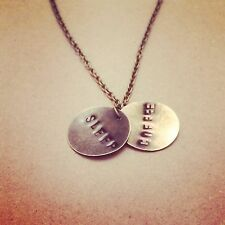 Handstamped Disc Necklace Pendant Charm Chain Any Word Or Number Personalised