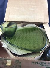 Vintage Set Of Indiana Glass olive green daisy snack plates in the original box