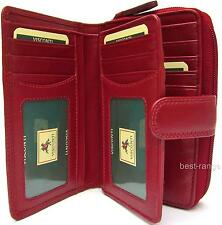 Ladies Purse Trifold, 16 Cards, Red Soft Leather Visconti New in Gift Box HT33