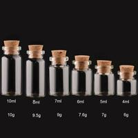 1/5/10pcs Transparent Clear Glass Bottle with Cork Stopper Crafts 4-20ML