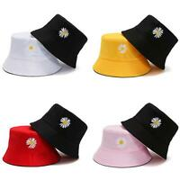 KQ_ Fashion Women Reversible Bucket Hat Daisy-Embroider Sun Proof Outdoor Beach