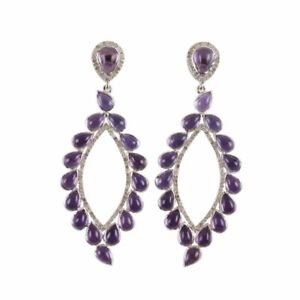 Natural Amethyst & Rose Cut Diamond Stud Earrings Jewelry Gift For Wife Jewelry