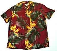 Island Shores Hawaiian Shirt 100% Silk Bird Of Paradise Flower Men's Large Size