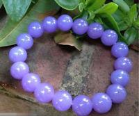 Natural 10mm Lavender Purple Jade Gemstone Round Beads Stretch Bracelet 7.5''