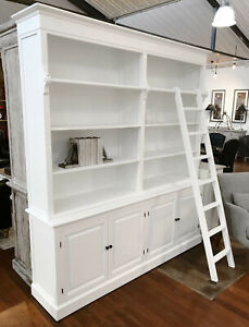 Bookcase Library Provincial White Display Unit Storage Hamptons 220cm