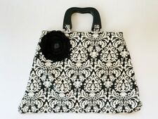 Black and White Toile Wooden Handle Purse Bag Flower