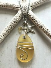 Sea Glass Necklace w Golden Yelllow Pendant Wire Wrapped & Starfish, Handcrafted