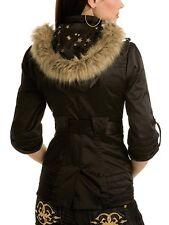 Guess Starlette Black Gold Fur Jacket Coat Trench Raincoat Burning Hoodie Man XS