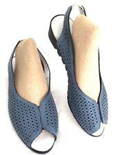 Sandals Women 8.5M 39 EU SPRING STEP Sling Blue Leather Wedge Shoes  MSRP $89