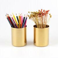 Gold Round Metal Pencil Holder Pen Brushes Pot Desktop Organizer Accent AU
