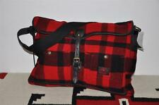 Polo Ralph Lauren Leather Trim Plaid Wool Messenger Bag